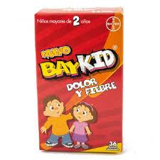 BayKid Dolor y Fiebre, 36 tabletas masticables, para dolor y fiebre.