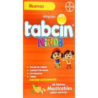 Tabcin Niños Antigripal, 48 Tabletas masticables sabor naranja