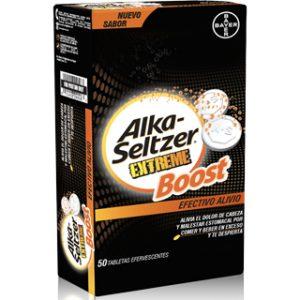 Alka - Seltzer Extreme Boost, Efectivo alivio, 50 tabletas efervescentes.
